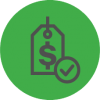 Money tag icon with a checkmark
